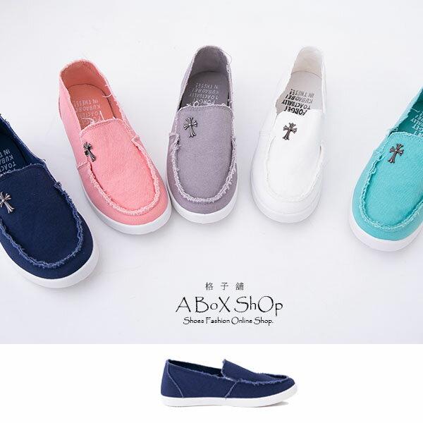 格子舖*【AR6608】嚴選無修邊裁縫設計 金屬十字架 帆布帆船鞋 懶人鞋 五色 2