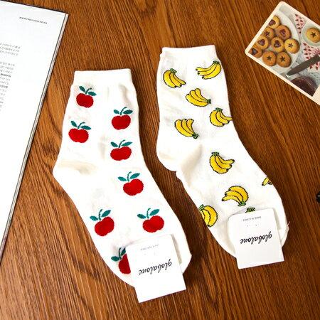 韓國 香蕉蘋果滿版造型四分襪 食物 水果 短襪 襪子 中筒襪 造型襪 流行襪【N201456】