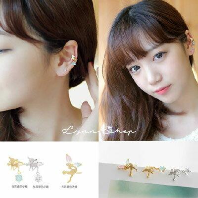 LYNN SHOP【OE-0414】 韓系飾品 韓系飾品 U型水鑽小鹿天使精靈耳釘耳環耳骨夾 (單個) 3色