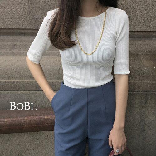 短袖針織上衣 復古素色貼身短袖針織衫【KLX25】 BOBI  09/29 0