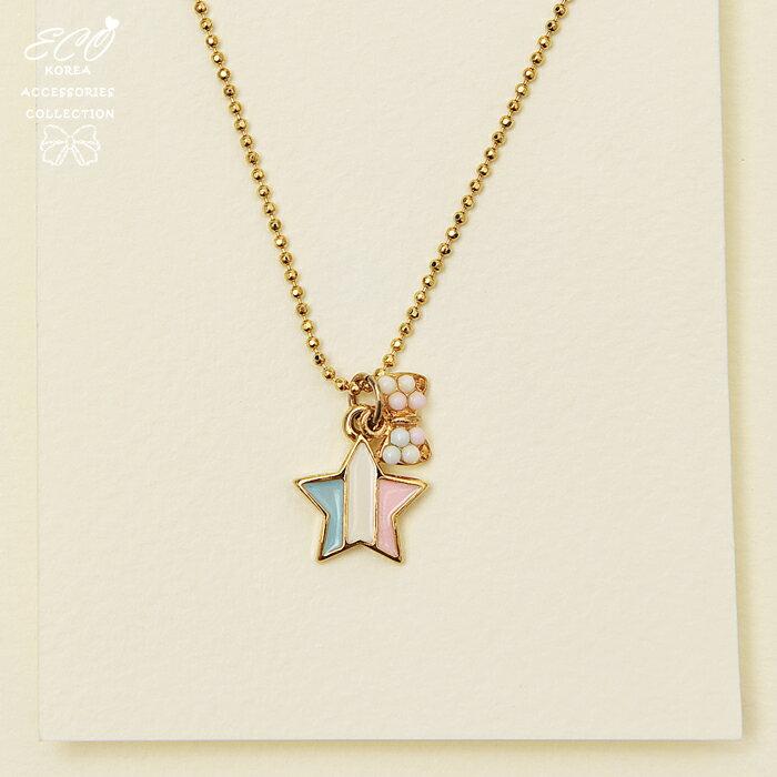釉彩,星星,彩珠,蝴蝶結,短項鍊,鎖骨項鍊,項鍊,韓貨,韓製,項鍊
