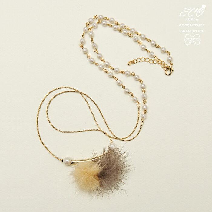 毛球,絨毛,珍珠,長項鍊,鎖骨項鍊,項鍊,韓貨,韓製,項鍊