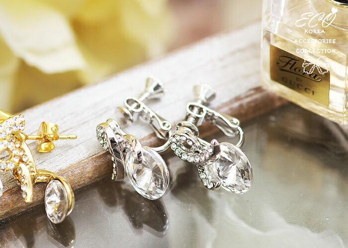 彩帶,大鋯石,大圓鑽,無耳洞耳環,夾式耳環,韓製,韓國,耳環