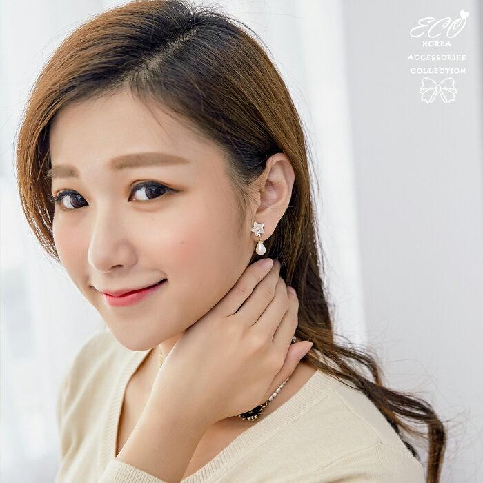 天然珍珠,珠貝光,花朵,蛋白石,夾式耳環,無耳洞耳環,韓製,韓國,耳環