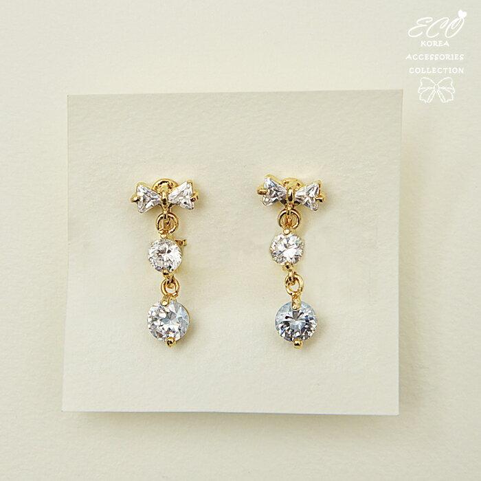 可愛,蝴蝶結,墜飾,圓鑽,夾式耳環,無耳洞耳環,韓製,韓國,耳環