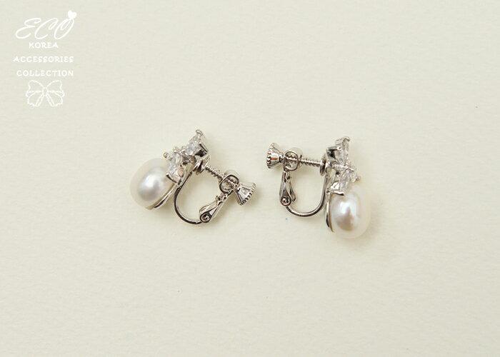 蝴蝶,花,扁珍珠,珍珠,氣質,夾式耳環,無耳洞耳環,韓製,韓國,耳環