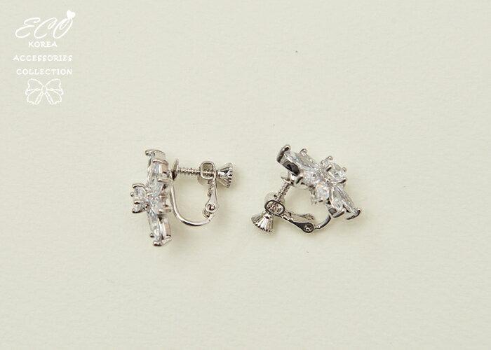 鋯石夾式耳環,夾式耳環,無耳洞耳環,螺旋夾耳環,耳環