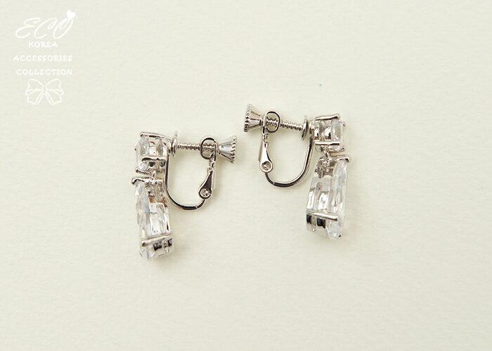 鋯石耳環,夾式耳環,無耳洞耳環,螺旋夾耳環