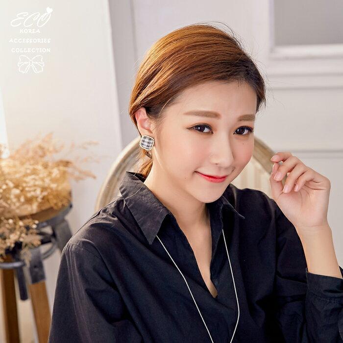 暖暖,學院風,格紋,毛呢,夾式耳環,無耳洞耳環,韓製,韓國,耳環