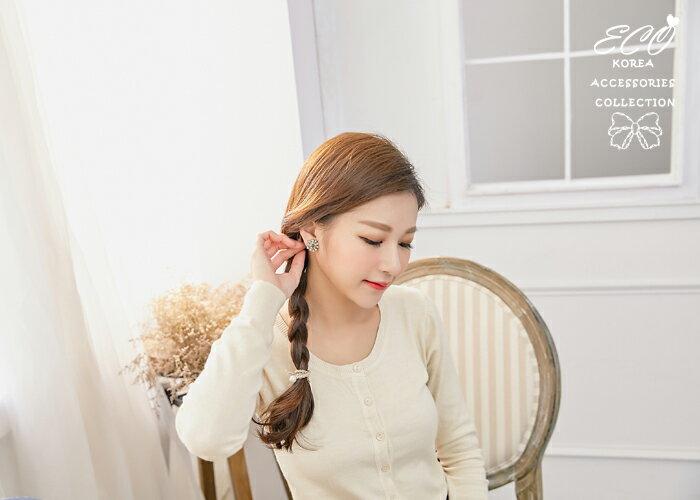 復古,灰黑,鑽,夾式耳環,無耳洞耳環,韓製,韓國,耳環