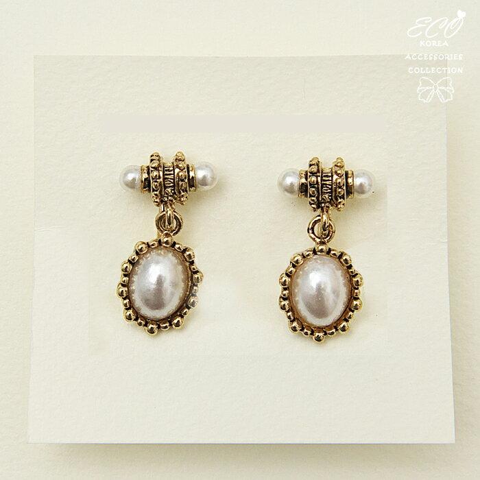 復古風,古典,個性,珍珠,夾式耳環,無耳洞耳環,韓製,韓國,耳環