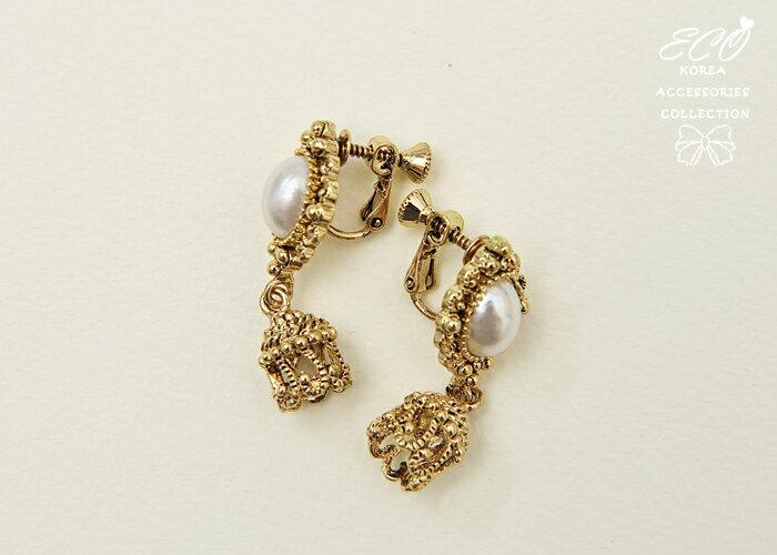 復古,古典,花邊,珍珠,夾式耳環,無耳洞耳環,韓製,韓國,耳環