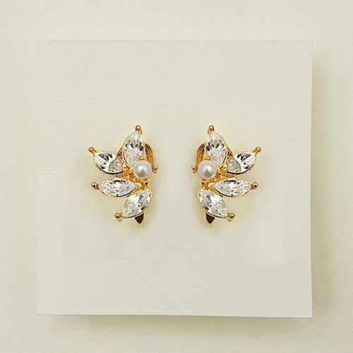 (預購+現貨)ECO安珂.珍珠耳釦晶鑽羽翼 夾式耳環/針式耳環【2-1670】