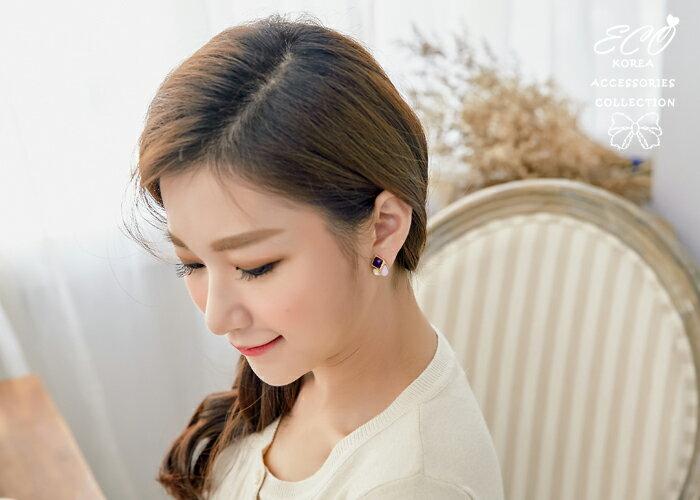 方形,水滴,蛋白石,夾式耳環,無耳洞耳環,韓製,韓國,耳環