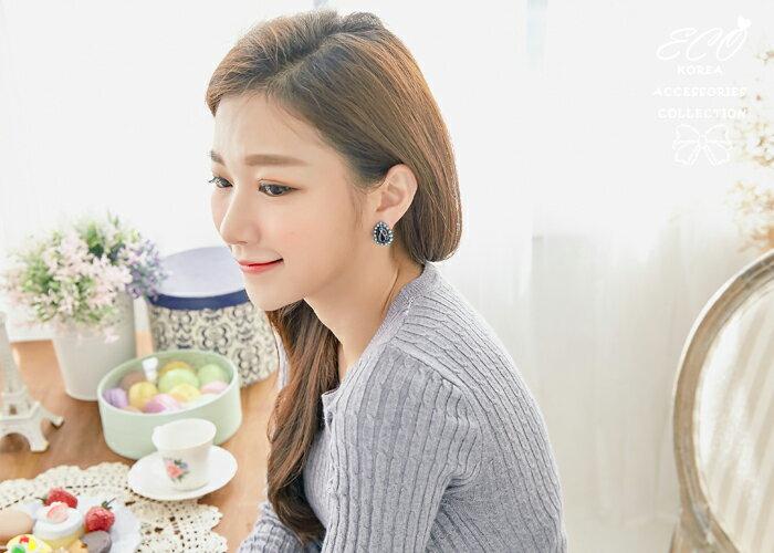 異國風情,釉彩,土耳其藍鑽,夾式耳環,無耳洞耳環,韓製,韓國,耳環