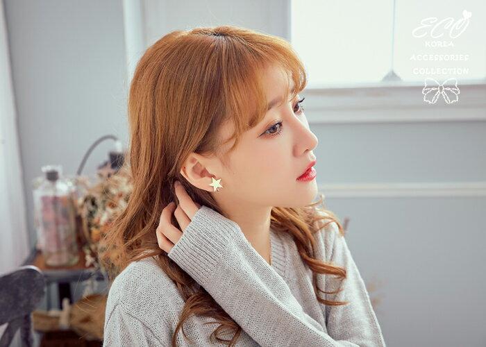 星星夾式耳環,夾式耳環,無耳洞耳環,螺旋夾耳環,韓國飾品,耳環