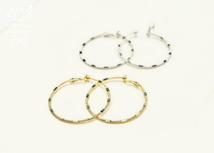 經典圓圈,C圈,雙色,夾式耳環,無耳洞耳環,韓製,韓國,耳環
