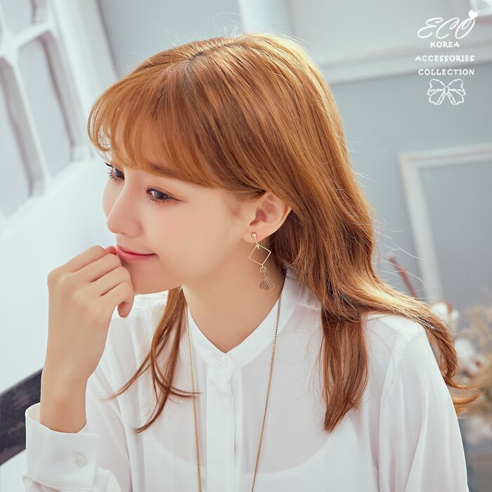 流蘇,方形,甜美,夾式耳環,無耳洞耳環,韓製,韓國,耳環