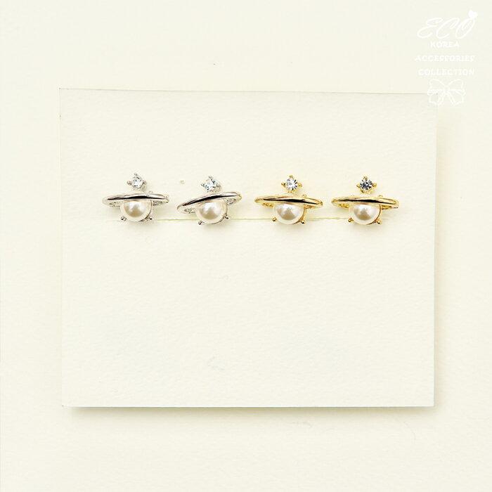 星球夾式耳環,珍珠夾式耳環,夾式耳環,無耳洞耳環