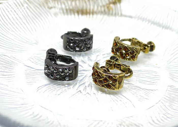 復古夾式耳環,夾式耳環,無耳洞耳環,螺旋夾耳環