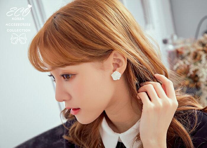 玫瑰花夾式耳環,無耳洞耳環,夾式耳環