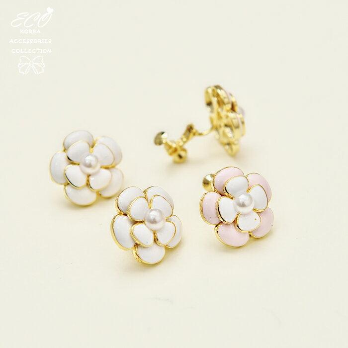 可愛,釉彩,山茶花,夾式耳環,無耳洞耳環,韓製,韓國,耳環