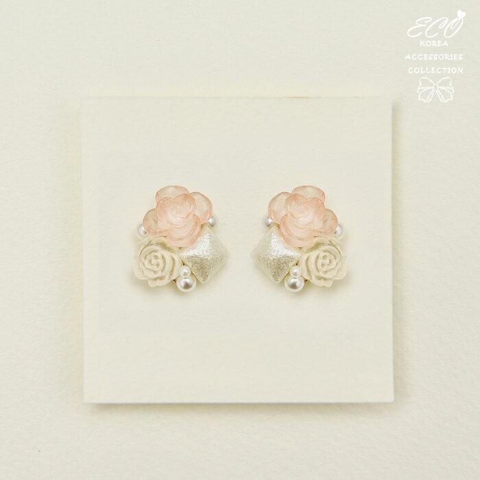 玫瑰花,珍珠,花朵,果凍色,透明,夾式耳環,無耳洞耳環,韓製,韓國,耳環