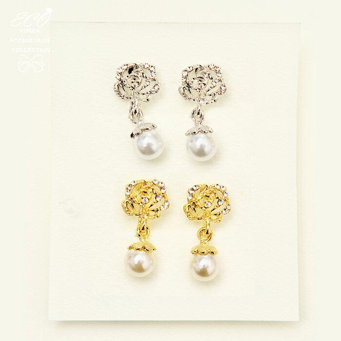 山茶花夾式耳環,夾式耳環,無耳洞耳環,螺旋夾耳環