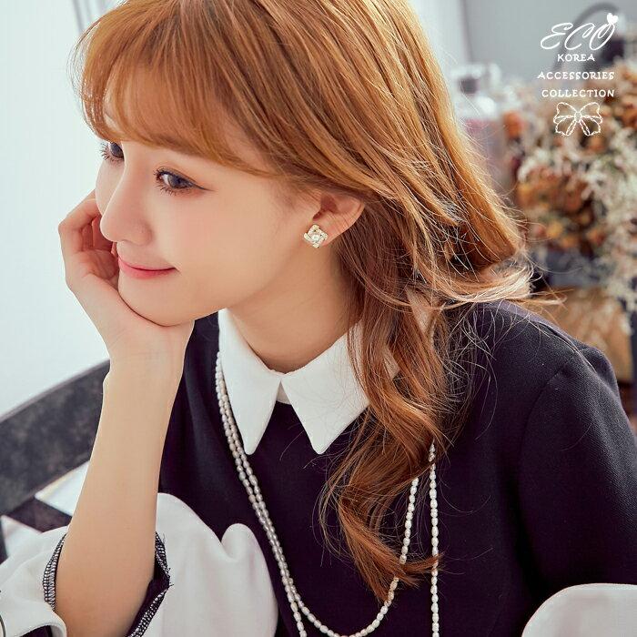 方形,珍珠,簡約,氣質,夾式耳環,無耳洞耳環,韓製,韓國,耳環