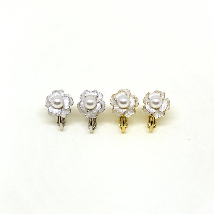 玫瑰,珍珠,花朵,雙色,夾式耳環,無耳洞耳環,韓製,韓國,耳環