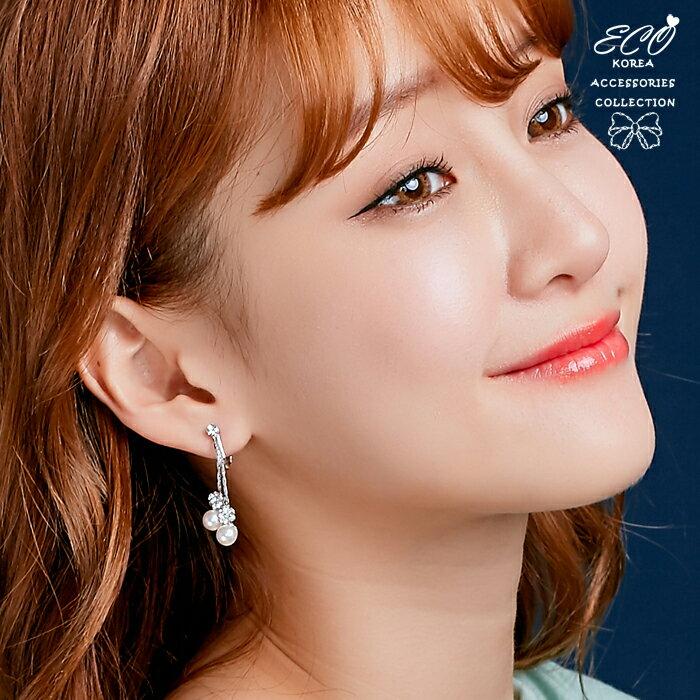 婚禮耳環,垂墜耳環,珍珠耳環,夾式耳環,無耳洞耳環,韓製,韓國,耳環