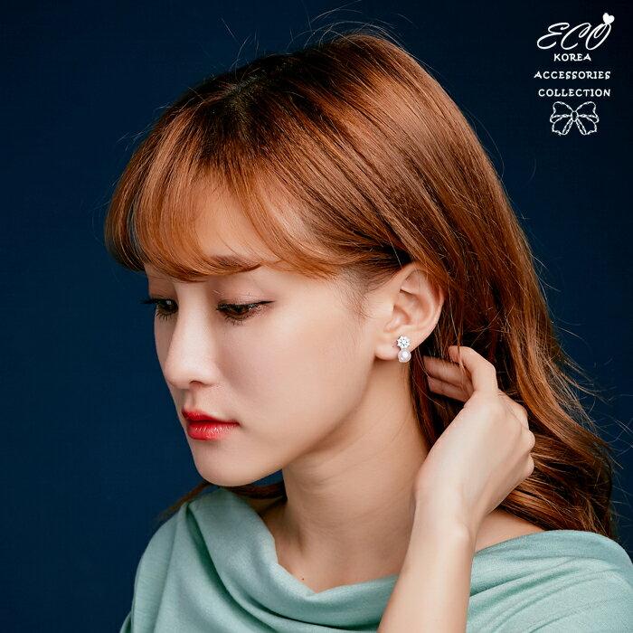 珍珠夾式耳環,鑽夾式耳環,夾式耳環,無耳洞耳環,韓製,韓國,耳環