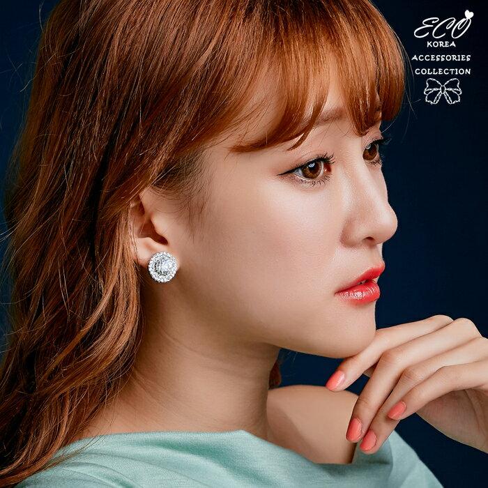 鑽,珍珠,婚宴夾式耳環,伴娘夾式耳環,無耳洞耳環,韓製,韓國,耳環