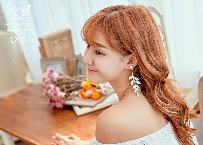 葉子夾式耳環,鴿子夾式耳環,夾式耳環,無耳洞耳環,韓製,耳環