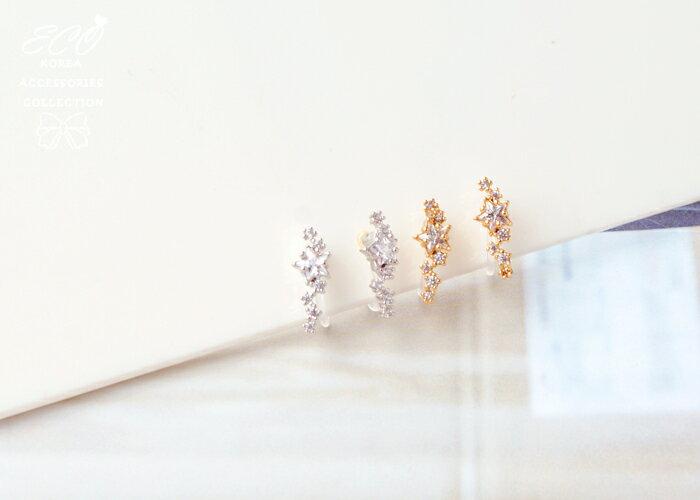 星星夾式耳環,無耳洞耳環,螺旋夾耳環