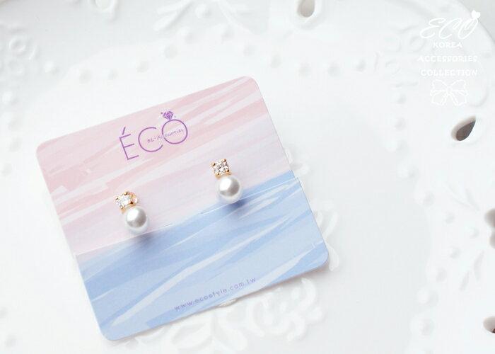 珍珠,鑽,夾式耳環,無耳洞耳環,韓製,韓國,耳環