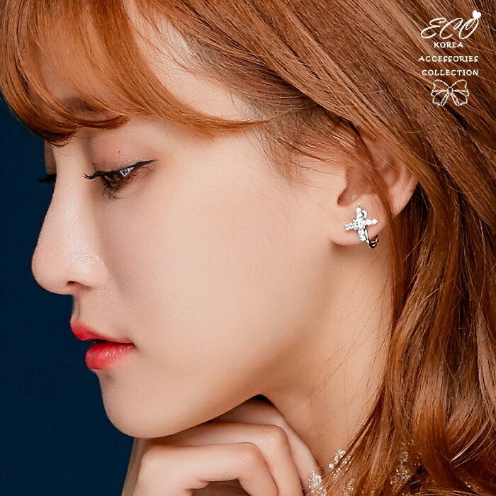 十字架耳環,婚宴必備款,螺旋夾耳環,夾式耳環,無耳洞耳環,韓製,韓國,耳環