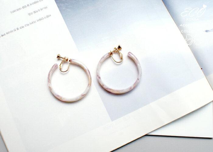 琥珀夾式耳環,夾式耳環,無耳洞耳環,螺旋夾耳環