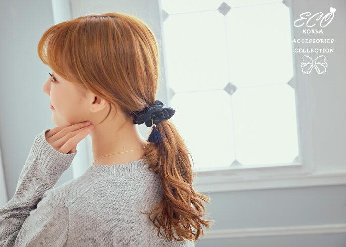 學院風,布面,格紋,格子,流蘇,髮束,韓國髮飾,韓國髮圈,韓國飾品,髮圈
