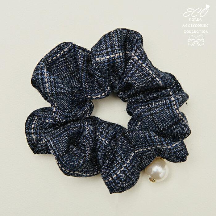 珍珠,格子,髮束,韓國髮飾,韓國髮圈,韓國飾品,髮圈