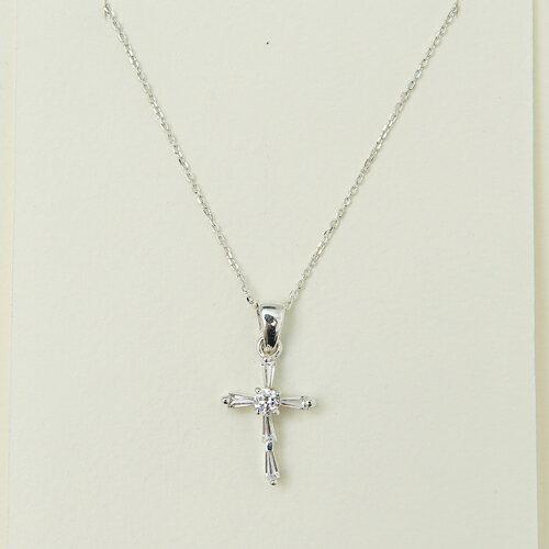 (預購)ECO安珂.簡約方鑽十字架綴鑽 925純銀項鍊【9-290】