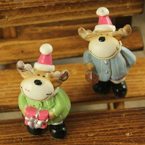 ●ECO安珂●【15-041】交換禮物 聖誕帽麋鹿藍衣服綠衣服 鄉村風擺飾(2入/組)