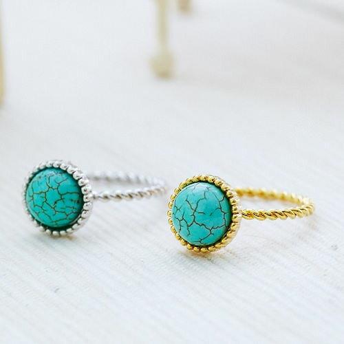 ●ECO安珂●半圓綠寶石綴裂痕 戒指(2色)【4-290】