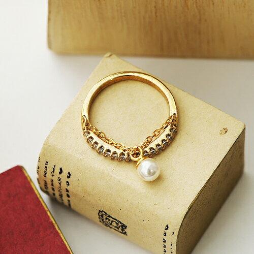 ECO安珂.排鑽墜鎖鍊珍珠 戒指~4~368~ ~  好康折扣