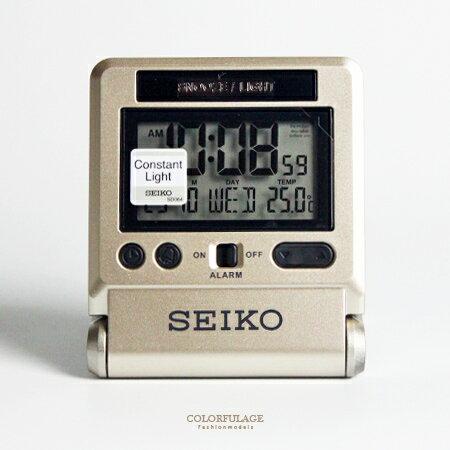鬧鐘 精工SEIKO香檳金液晶面板桌鐘 漸進鬧鈴 多功能 攜帶式鬧鐘 柒彩年代【NV1710】原廠公司貨