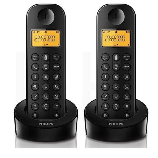 免運費【飛利浦PHILIPS】數位子母無線電話機 D1202B 黑色