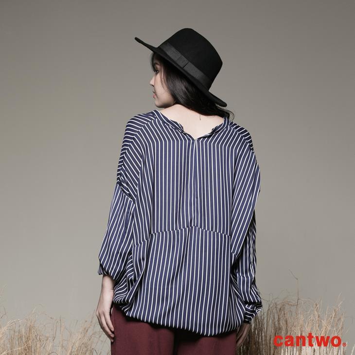 cantwo條紋小立領弧襬襯衫(共二色) 3