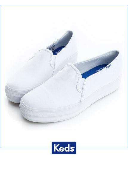 Keds 品牌經典厚底休閒便鞋(白) (限量) 套入式│懶人鞋│厚底鞋 0