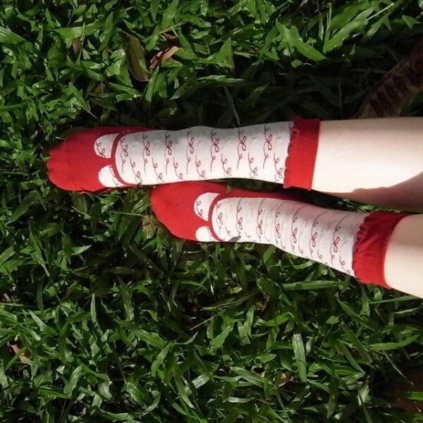約會去 少女鞋禮物棉襪/紅白配 MIT社頭襪子