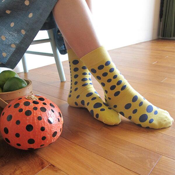 我愛草間彌生 點點禮物棉襪/芥茉黃 MIT社頭襪子